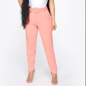 Fashion Nova Talia Belted Pants Salmon